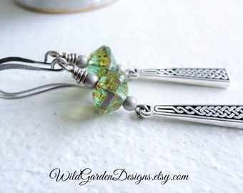 Silver Celtic Braid Inspired Earrings Green Blue Czech Glass Earrings Saint Patricks Day Green Jewelry Antiqued Silver Celtic Knot Design
