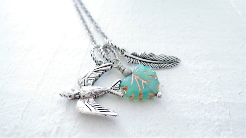 Silver Swallow Bird Necklace Turquoise Leaf Necklace Feather Charm Necklace Nature Inspired Gift for Wife Gift for Mom Gift for Girlfriend