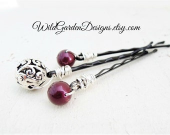 Burgundy Hair Accessories Antiqued Silver Hair Pins Vintage Style Silver Hair Pins Bride Hair Accessory Wedding Accessory Gift For Her
