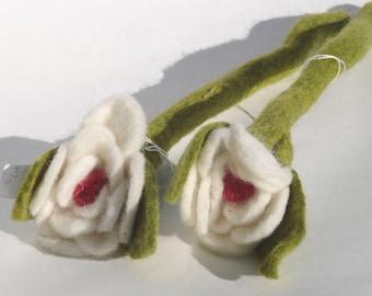White Felted Flower