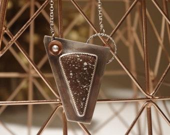 Copper Fire Brick Cabochon Necklace; Sterling Silver; Rolo Chain; Modern Design; Handmade; Artisan