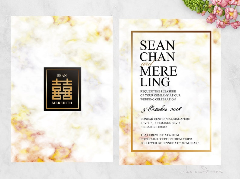 Printable Wedding Invitation | Marble background | Modern | Gold Double  Happiness