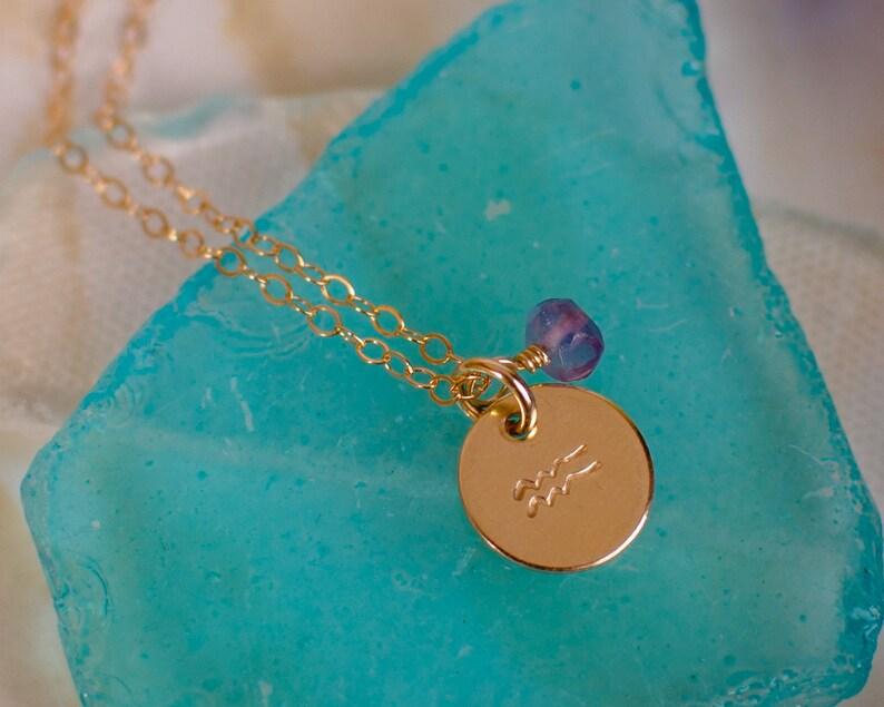 4e174ec5a5168b Aquarius Necklace small gold Aquarius Zodiac Pendant on 14k | Etsy