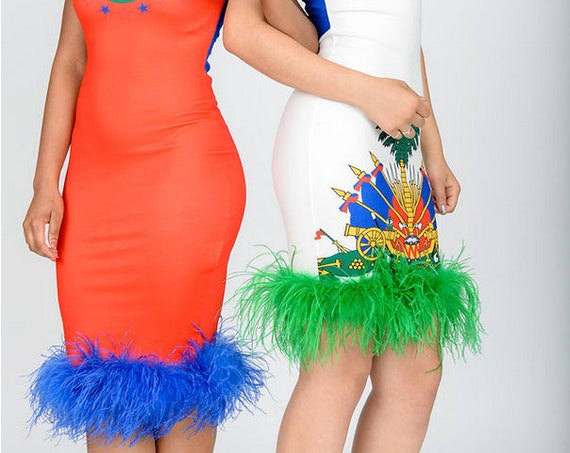 Haiti flag dress with ostrich feathers finge (one dress only)