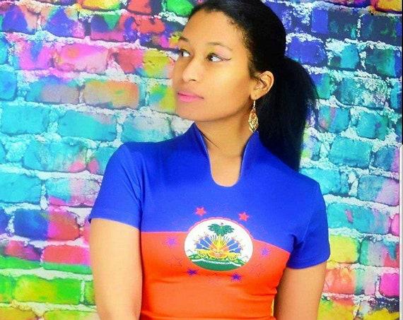 Haitian Flag Shirt Dress