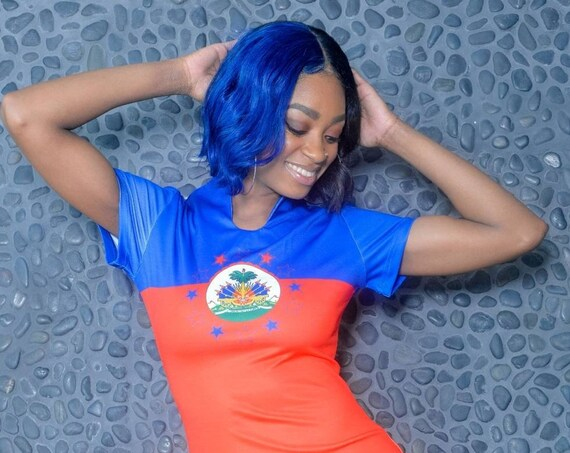 Haiti Flag Shirt Dress