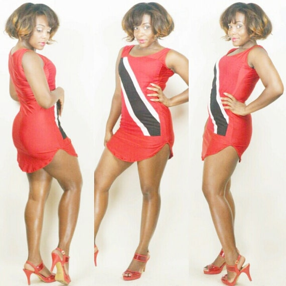 Shirt Dress Red Dress Trinidad Flag Bodycon Dress Club Suit West Indian Outfit *Other Countries Produced by Request