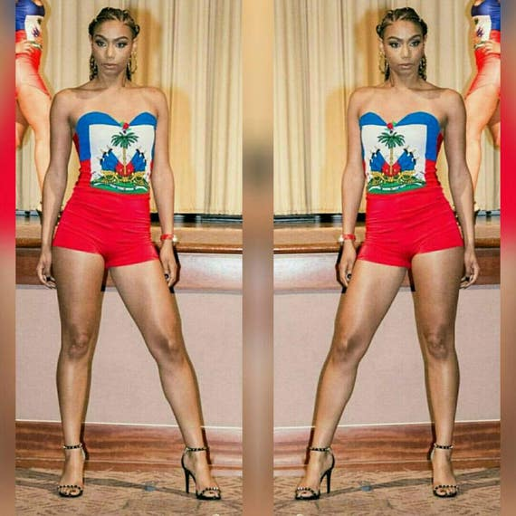 Custom Haiti Flag Stretch Sweetheart Cut Romper