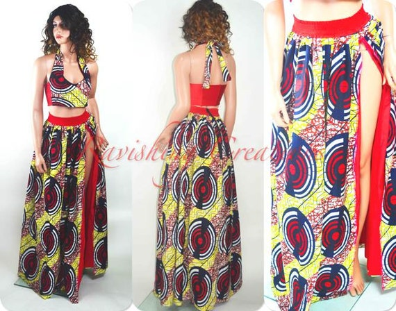 African Print Maxi Dress Ankara Maxi Print African Long Two Piece Halter Dress