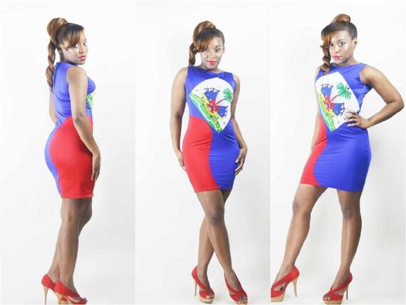 Custom Haiti Flag Stretch Dress Haitian Bodycon Club Dress Haitian Flag Day Outfit Mini Dress