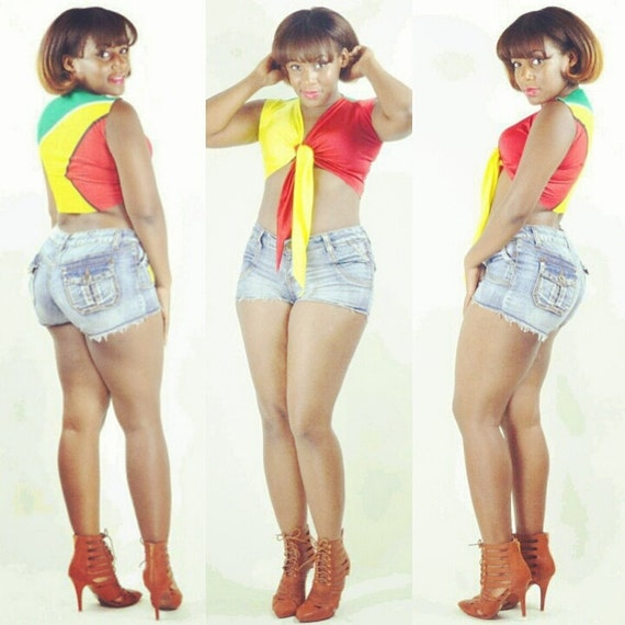 Custom Guyana Flag Tie Crop Shirt Guyanese Fitted Shirt Carnival Outfit Belly Shirt *Other Countries Produced As Well