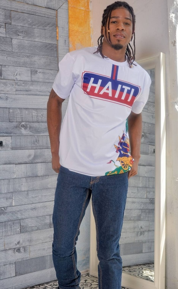 Haiti Flag Coat of Arms Mens T-Shirt