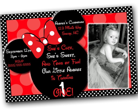 Sale Minnie Mouse Invitations With Free Thank You Card Minnie Etsy