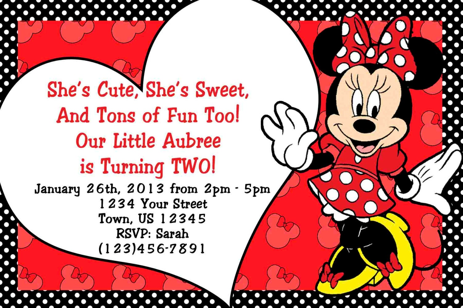 Minnie Mouse Invitations Minnie Mouse Birthday Red Minnie | Etsy