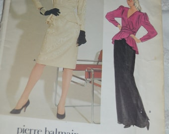 Vogue 1298 Misses Pierre Balmain Top and Skirt Sewing Pattern - UNCUT - Sizes 8
