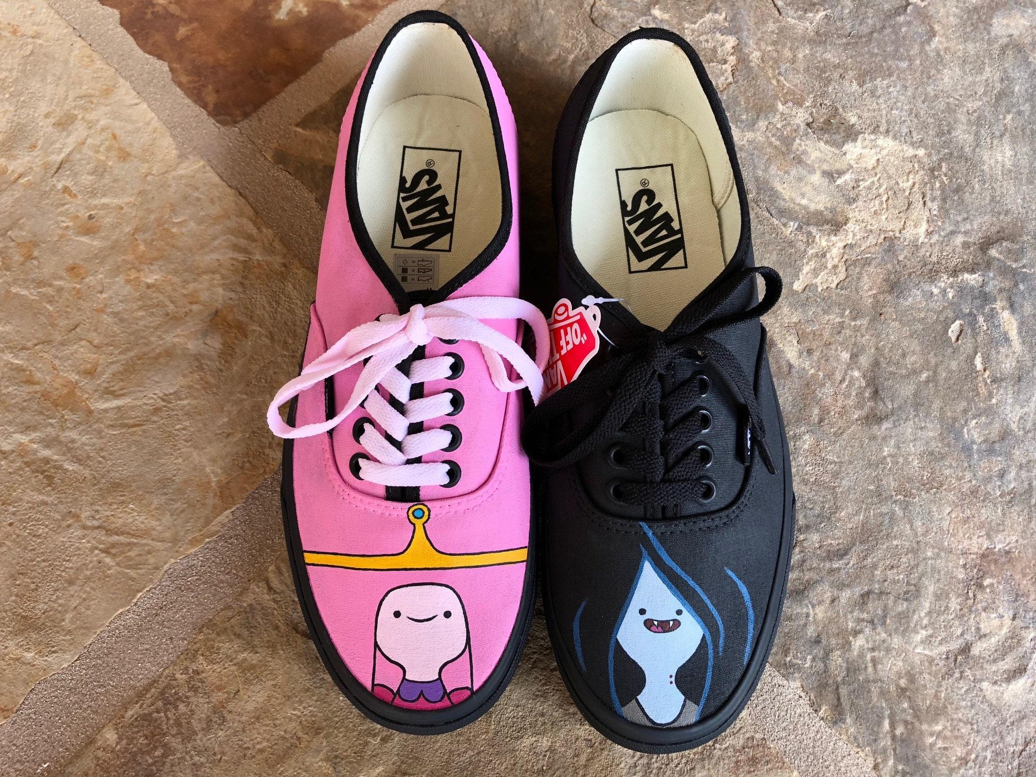 Hand Painted Shoes - Adventure Time - Princess Bubblegum and Marceline - Bubbline