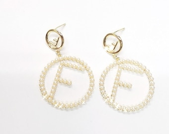 3a051b74dc4f Circle F logo earrings fendi inspired style 925 Silver Post Gold Plated  earrings