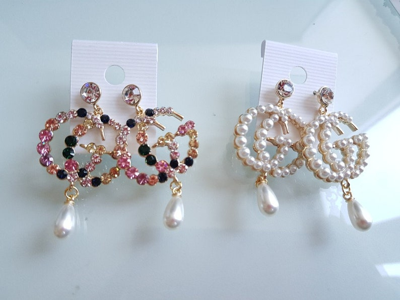 da6fea6499a GG earrings   Necklace Crystal Gucci inspired Earrings. Super