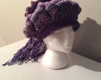 Beanie in passionate purples.  The Chelsey Hat
