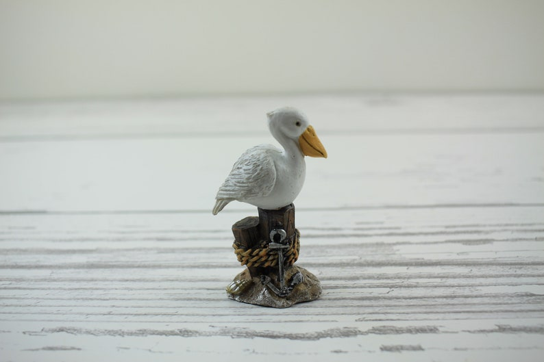 Fairy Garden Miniature Beach Collection Pelican on Driftwood image 0