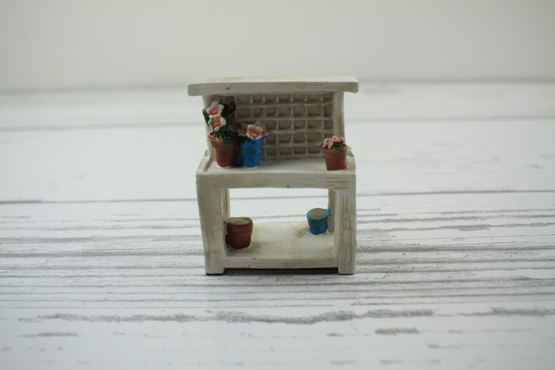Fairy Garden Miniature White Garden Bench image 0