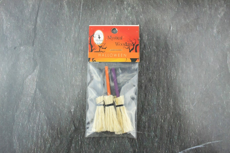 Fairy Garden Miniature Halloween Brooms Set of 3 image 0