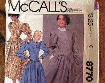 McCall's Eighties Dress Pattern, Size 10