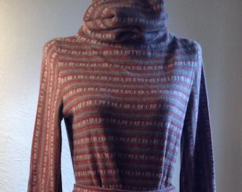 0b73485aeef 1970s Handmade Original Two-piece Sweater Dress of Angora Wool Blend, 32