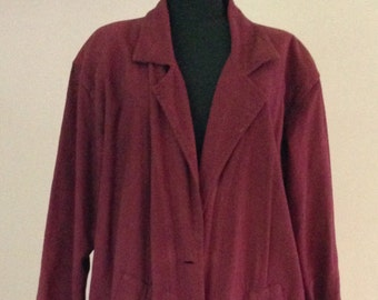 1980s Long Burgundy Cotton Duster Coat with Shoulder Pads
