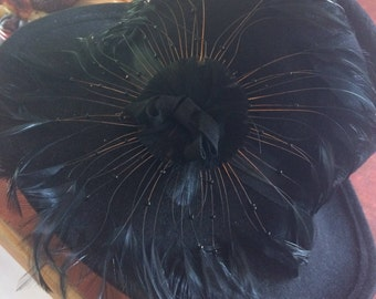 Women's Black Wool Felt Brimmed Hat with Feather