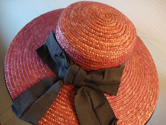 Raspberry Red Wide Brimmed Straw Hat, Made in Ital