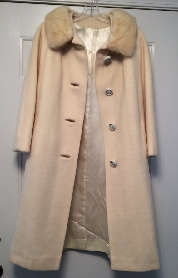 Vintage Sixties Full-length Wool Coat with Fur Col