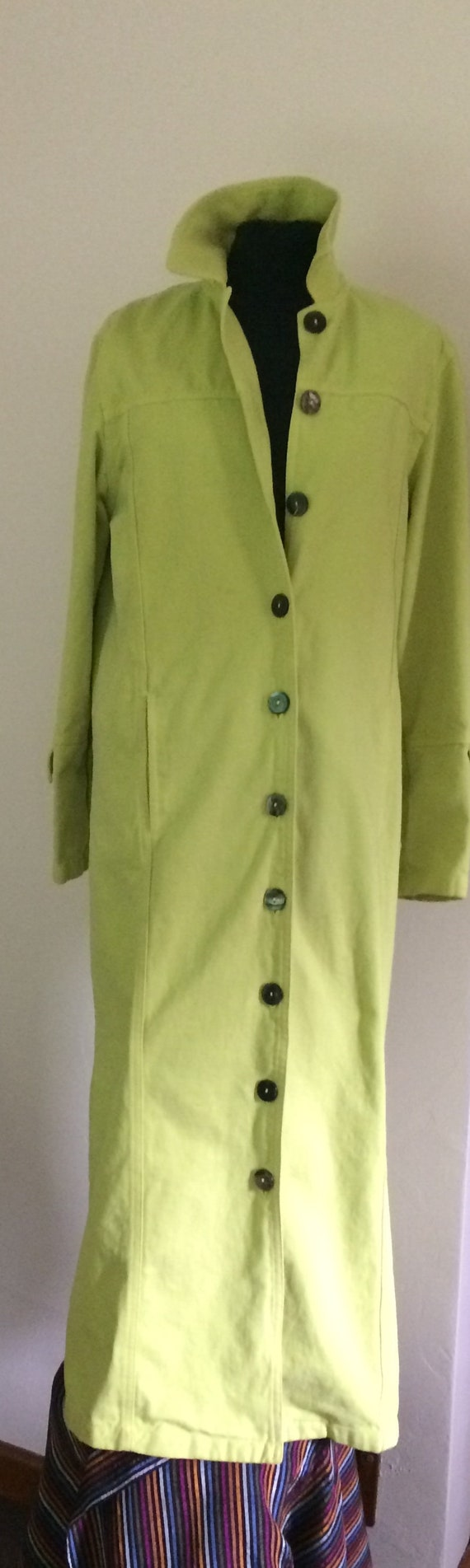 Long Lime Green Cotton Duster Coat