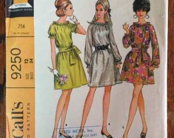 1968 New Easy McCalls Dress Pattern, Size 12, Bust 34 inches