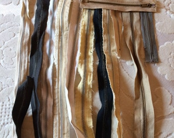 A Dozen Vintage Metal Zippers