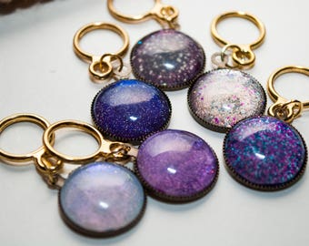 Purple galaxy swirl stitch markers (set of 6)