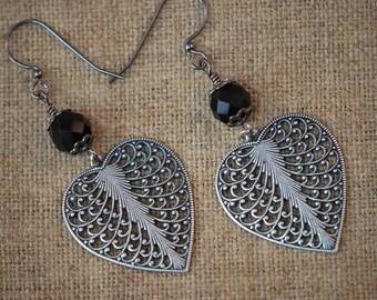 Ea-78 Heart Earrings, filigree heart dangle earrings, jet black Czech faceted fire polished glass beads, bead caps, choose earring findings