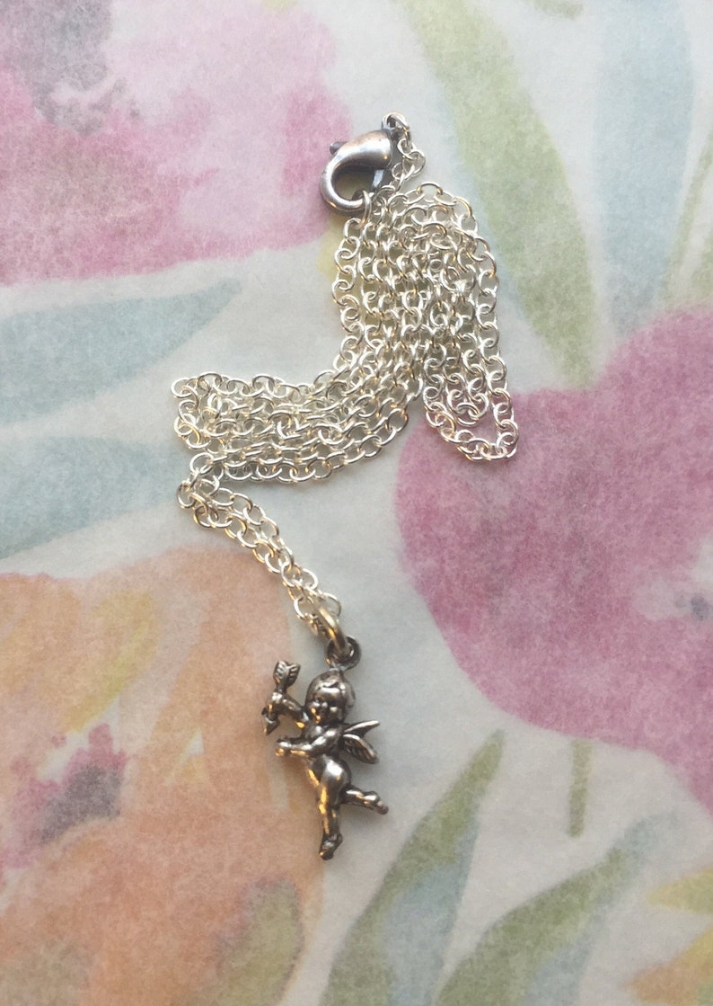 Silver  Double-sided cupid Length 16 inches Lobster claw clasp Free Shipping. Cherub Pendant Chain Necklace Ne-26 Simple Silver Cupid