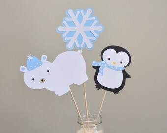 Penguin and Polar Bear Centerpiece, Winter Onederland Centerpiece, Arctic Animals Centerpiece