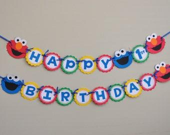 Sesame Street  Banner, Sesame Street Birthday Party, Elmo and Cookie Monster Banner