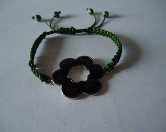Tibetan bracelet adjustable green flower