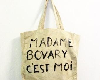 I am Madame Bovary beige large cotton shoulder tote
