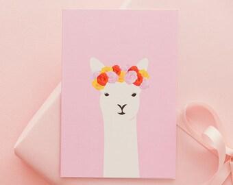 Llama Del Rey - Greeting card