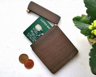 Personalised wallet / credit card holder. Wood wallet for men, minimalist wallet business card case. slim wallet for women unique vegan gift