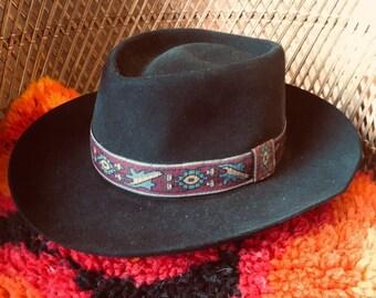 0f012fd93552c Vintage Mayser Cowboy Hat with Native American Hat Band Small Medium