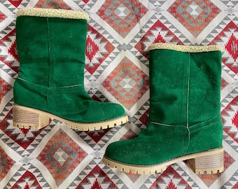 Vintage 70s style Green suede faux fur lined boots UK6 Winter
