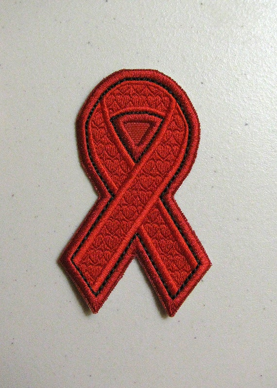 Red Ribbon Patch Heart Disease Awareness Aids And Hiv Etsy