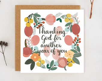 """Christian birthday card """"thanking God for another year of you"""" Religious birthday card"""
