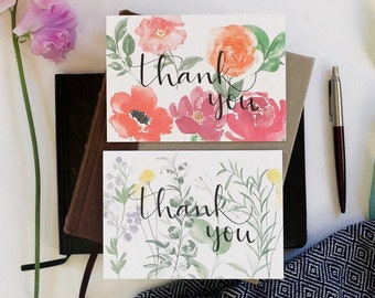 Set of watercolour botanical and floral thank you cards, mix of two designs, leaves, flowers, peonies, poppies and wildflowers
