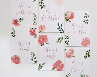 Set of Christian postcards with truths from the Bible about who Jesus is